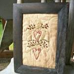 Primitive, Hand Stitched Heart Swag..