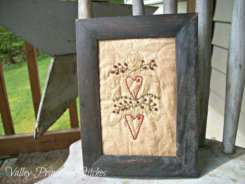 Primitive, Hand Stitched Heart Swag Stitchery, Hearts, Love